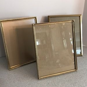 "Set of 3 vintage gold metal frames - 8"" x 10"""